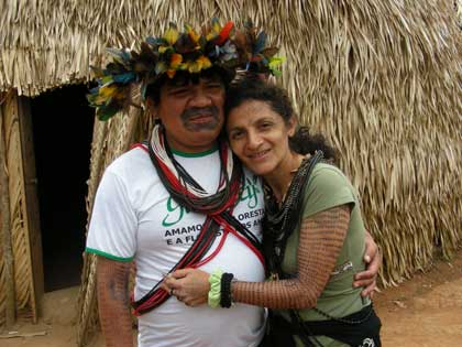 Ivaneide with her husband Chief Almir Surui