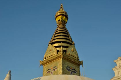 The eyes of Buddha, who was born in Nepal, at Swayambhunath, also known as the Monkey Temple - Kathmandu, Nepal